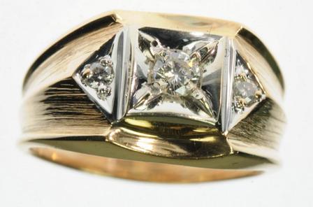 MENS 14K SOLID YELLOW GOLD DIAMOND 3 THREE STONE BAND ESTATE RING