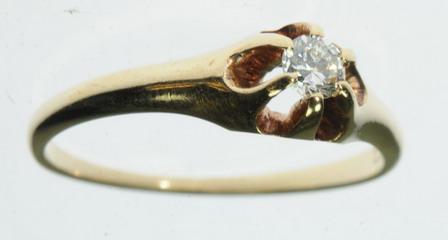 ANTIQUE LADIES 14K YELLOW GOLD DIAMOND SOLITAIRE ESTATE RING J224011