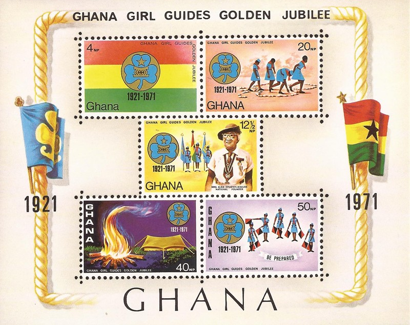 Country Ghana Year Of Issue 1971 Type 5 Stamp Souvenir Sheet Topic Girl Guides Mrs E Ofuatey Kodjoe Founder Scouting Logo Flags Tent Fire