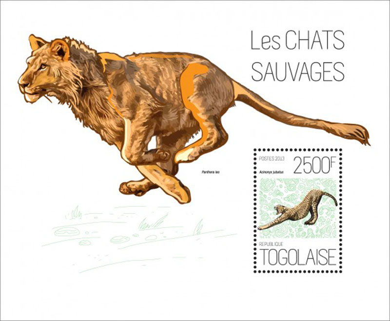 20h-645 Cats Wild Animals Lion Togo Cheetah Souvenir Sheet