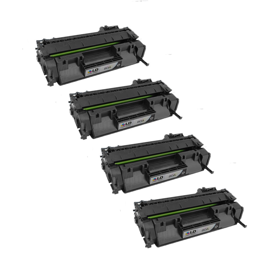 LD Compatible Replacements for HP 26A//CF226A Set of 4 Black Toner Cartridges