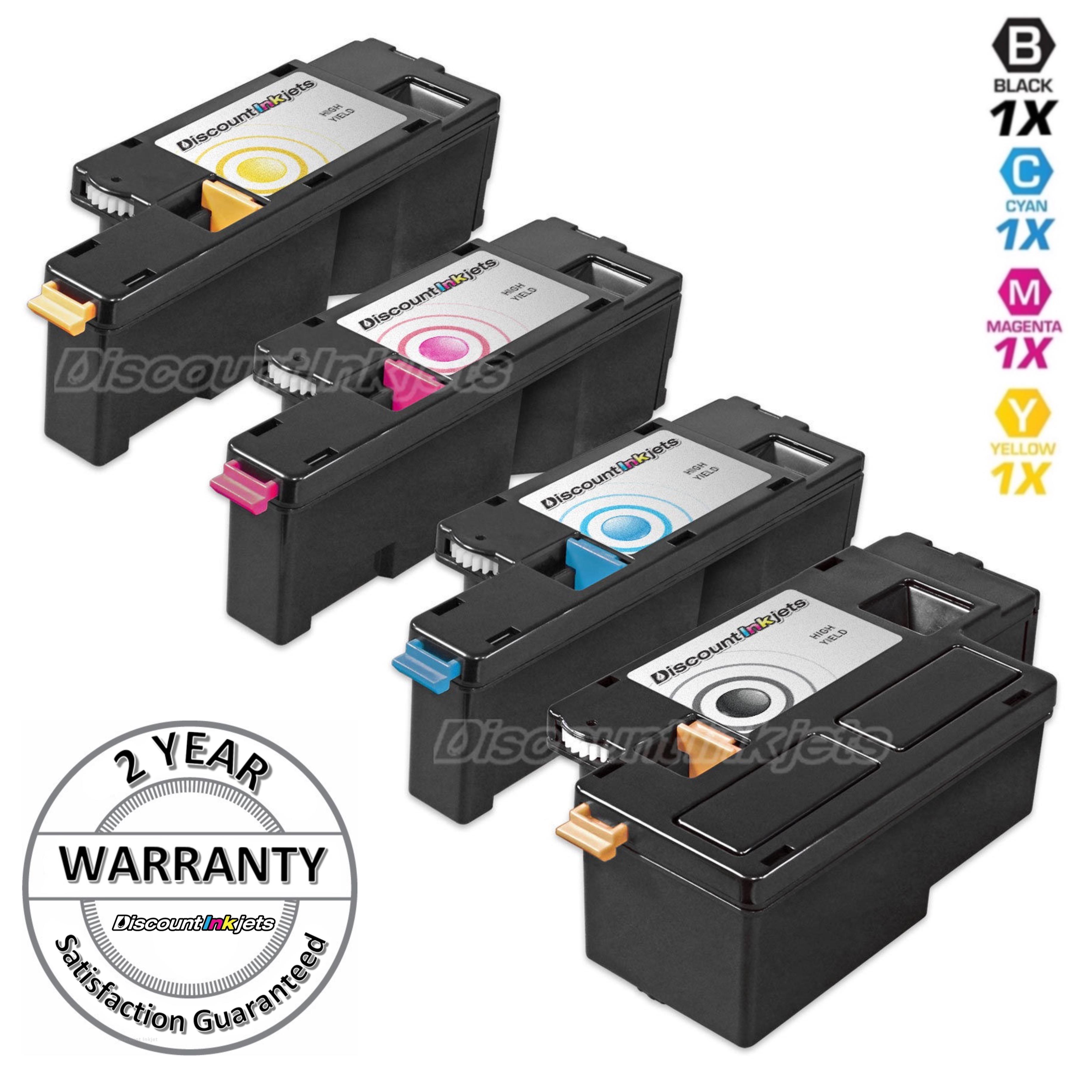 4pk Black Color Printer Laser Toner Cartridge For Dell C1765nfw