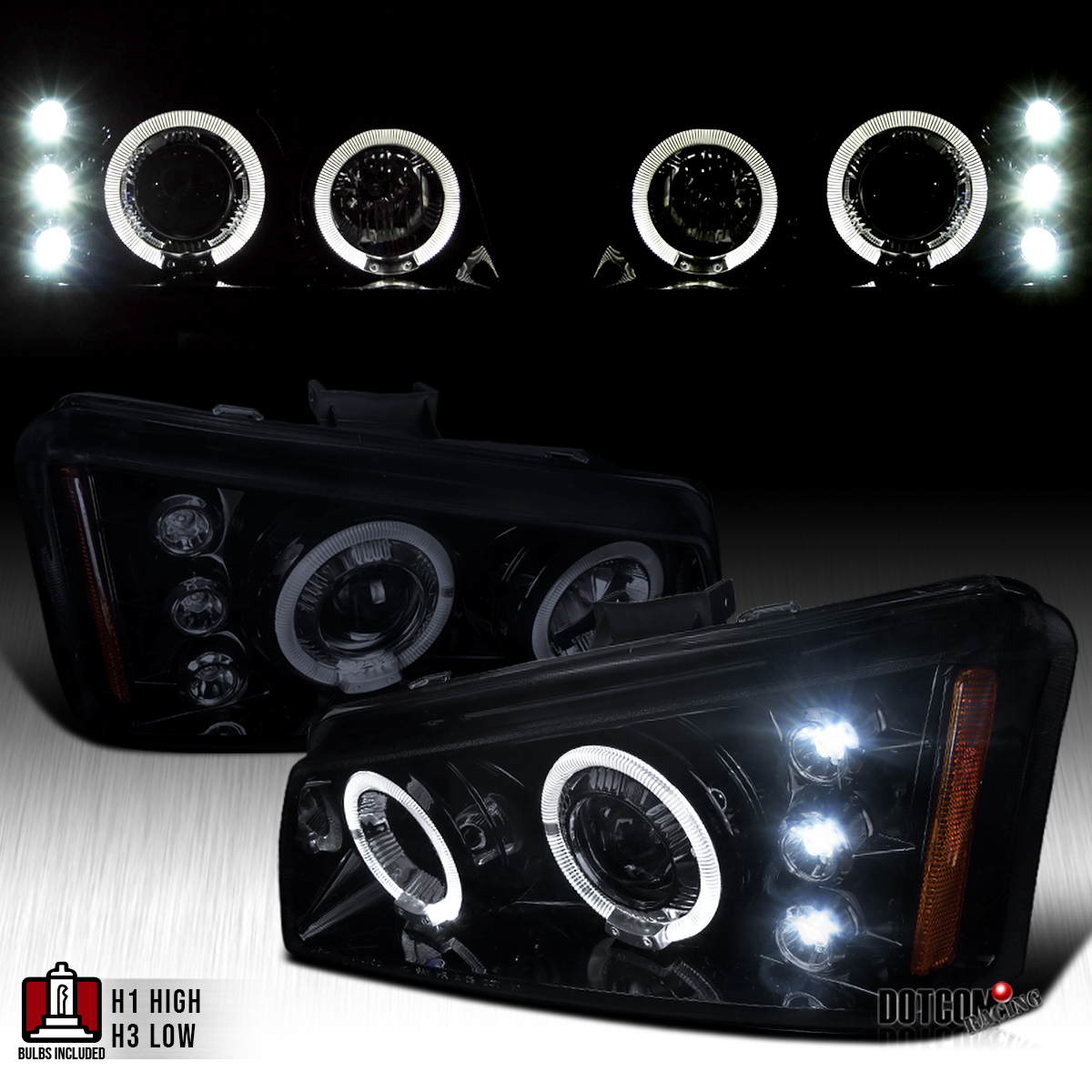 03 07 chevy silverado avalanche glossy black dual halo led projector headlights ebay. Black Bedroom Furniture Sets. Home Design Ideas