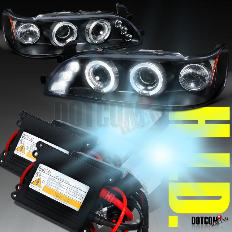 for 03-08 Toyota Corolla Halo LED Projector Headlights Chrome+H1 Slim HID Kit