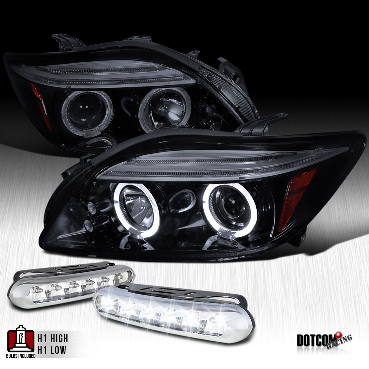 Glossy black 2005 2010 scion tc halo projector headlights wled glossy black 2005 2010 scion tc halo projector headlights wled strip fog lamps aloadofball Gallery