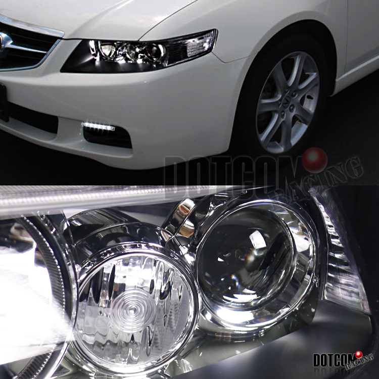 2004-2005 Acura TSX Black Projector Headlights W/ 6-LED