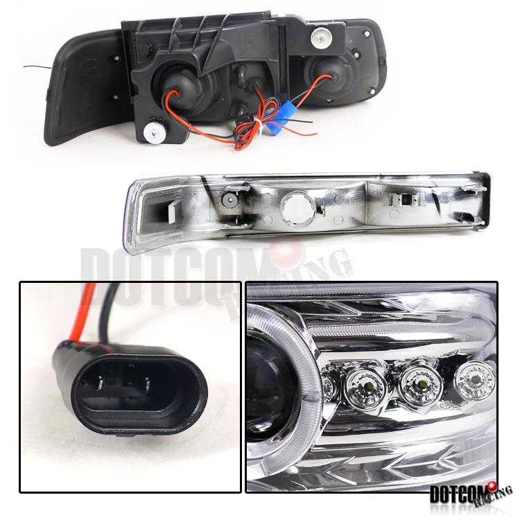 Chevy Silverado Tahoe Suburban Halo LED Projector Headlights Bumper