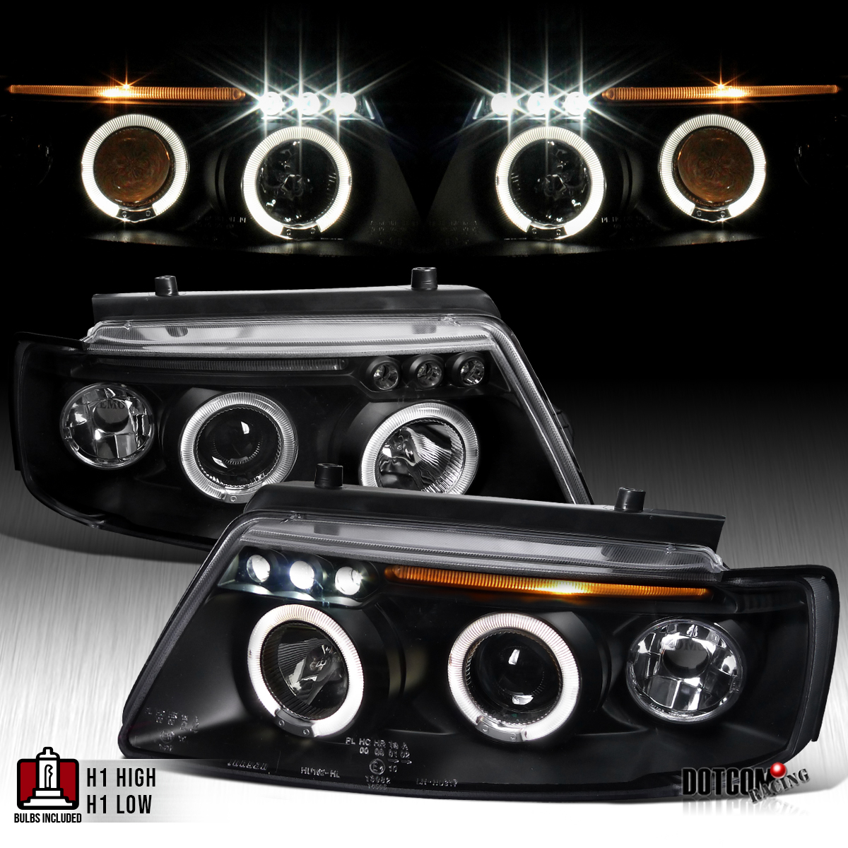 For 1997-2000 VW Passat Chrome Dual Halo LED Projector Headlights Head Lamps
