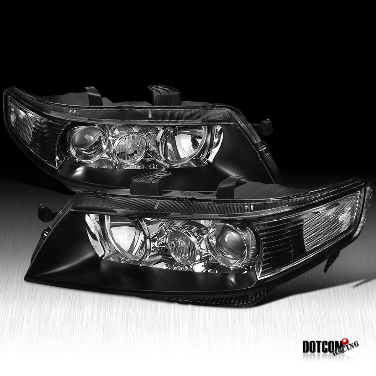 JDM 04-05 ACURA TSX BLACK CLEAR PROJECTOR HEADLIGHTS RH LH