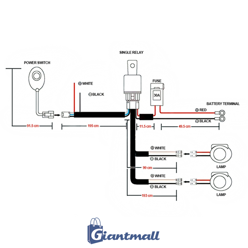 G-Mall: Switch Relay Wiring Harness Kit for LED Work Fog