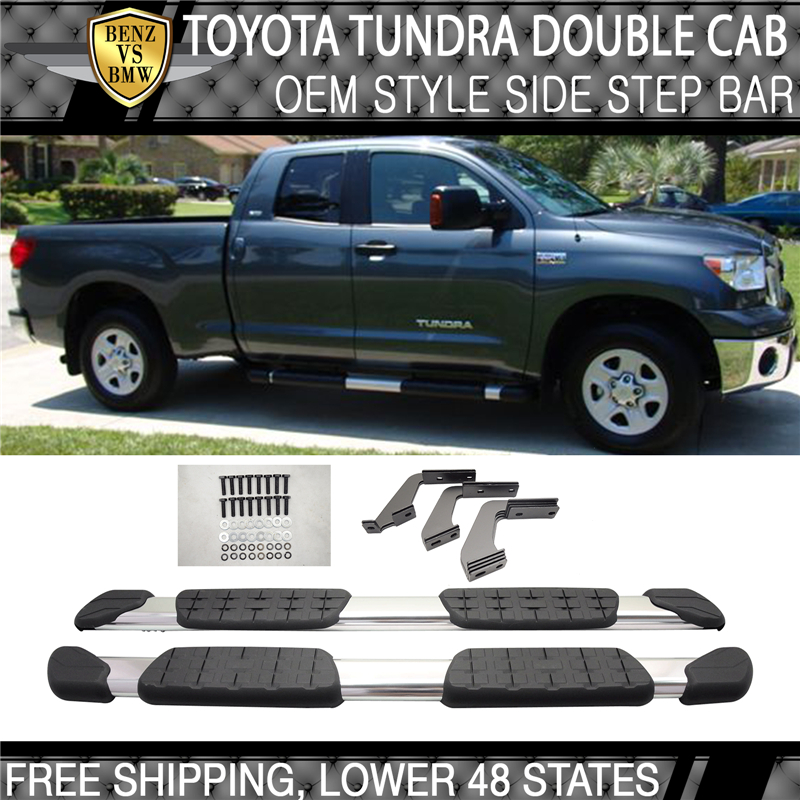 Fits 07-17 Toyota Tundra Crewmax Cab Aluminum OE Side Step Bar Running Board