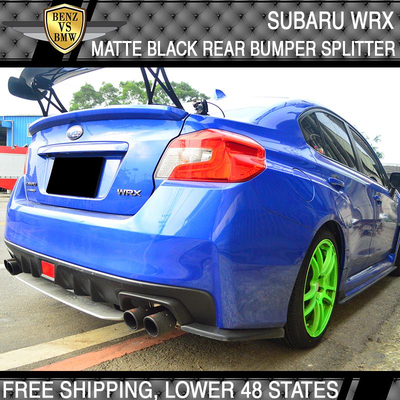 Fits 15-18 Subaru WRX STI Painted PU Matte Black Rear Bumper Splitter Lip