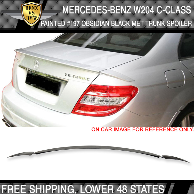 Painted 197 Obsidian Black A Style Rear Trunk Spoiler for Mercedes W204 Sedan