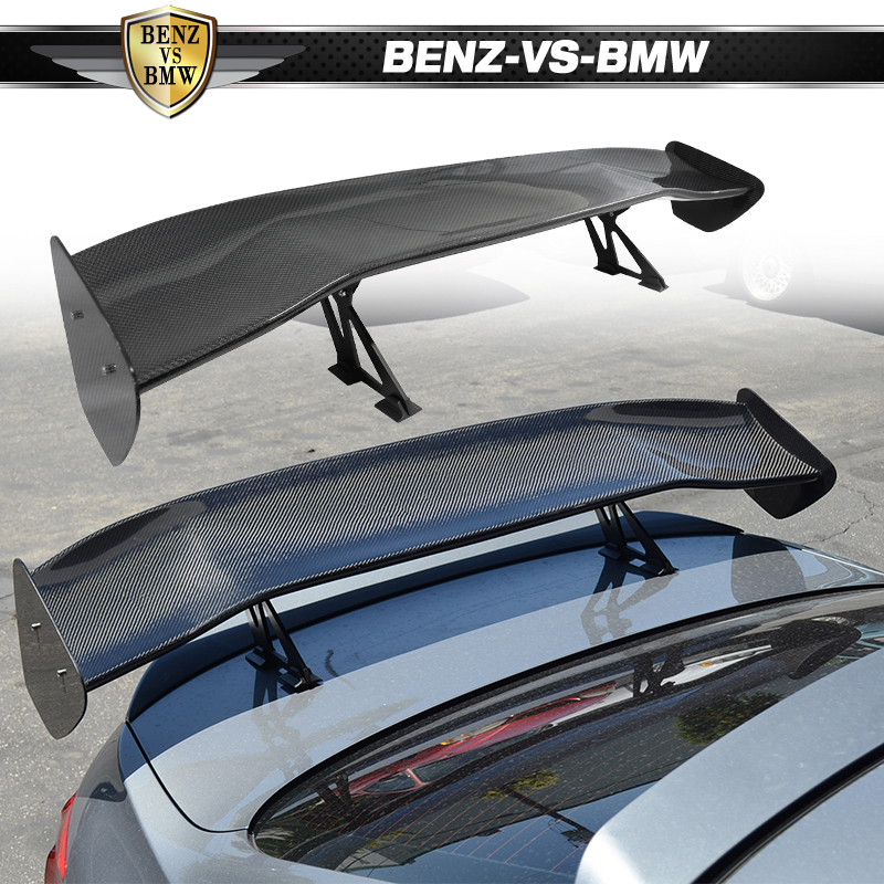 """51/"""" Real Carbon Fiber Adjustable Rear Trunk GT Style Spoiler Wing Universal 6"""