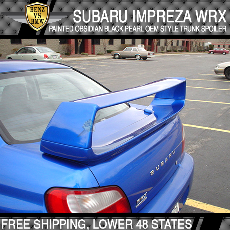 For 02 03 04 05 06 07 WRX Trunk Spoiler Painted Obsidian Black Pearl # 32J ABS