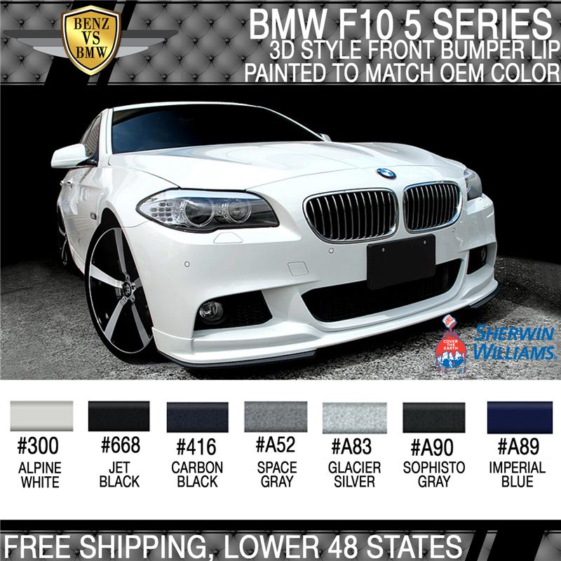 Fits 11-16 BMW F10 5 Series 3D Style M-Tech M Sport Painted Front Bumper Lip PU