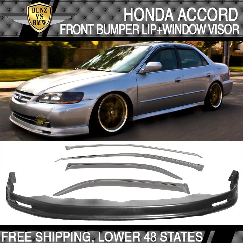 Sun Window Visor Fits 96-97 Honda Accord 4Dr Mugen Style Front Bumper Lip