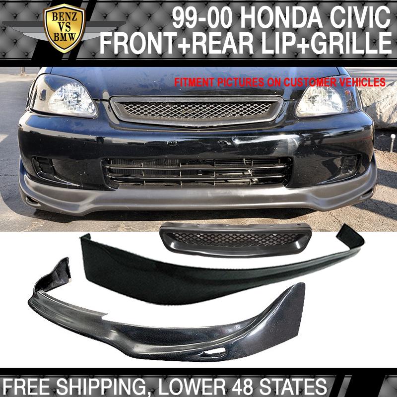 Rear Bumper Lip Fits 99-00 Honda Civic 3Dr Front