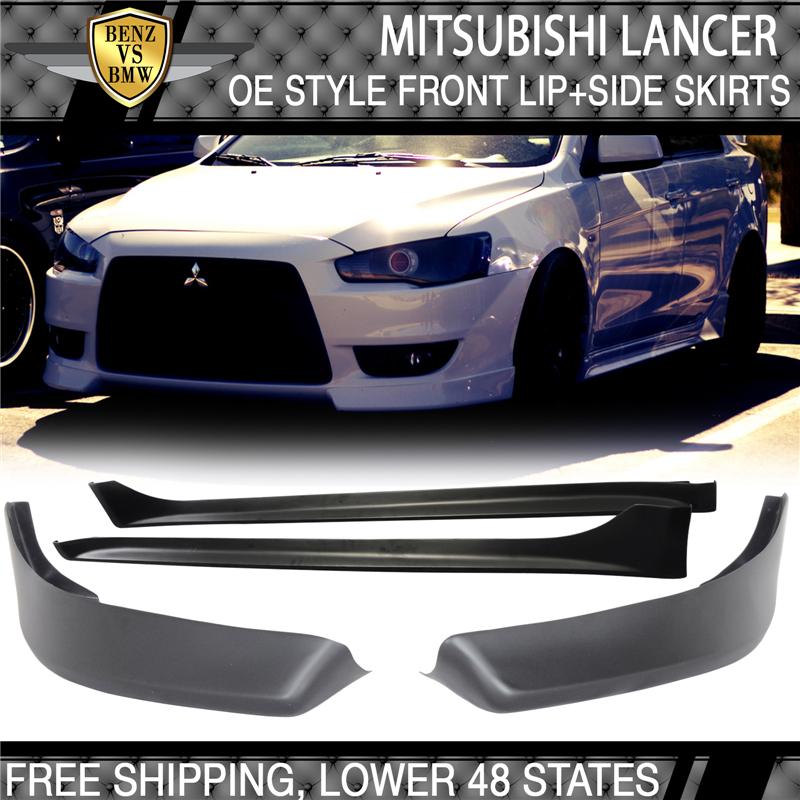 Fits 08-17 Mitsubishi Lancer OE Style Side Skirts Bodykit PP Black
