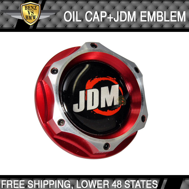 2 Tone Red Universal Fitment Honda Acura Power JDM Billet Engine Oil Cap