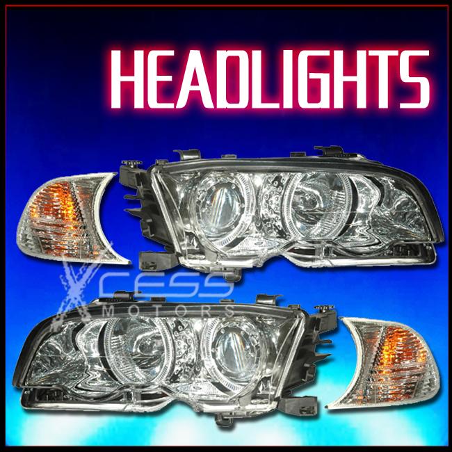 00 01 02 03 BMW 3-SERIES E46 2DR TWIN HALO HEADLIGHTS W//CORNER LIGHT CHROME