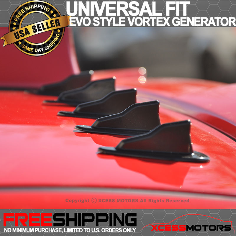 Details about For Buick Vortex Generator Black PP EVO-Style Roof Shark Fins  Spoiler Wing