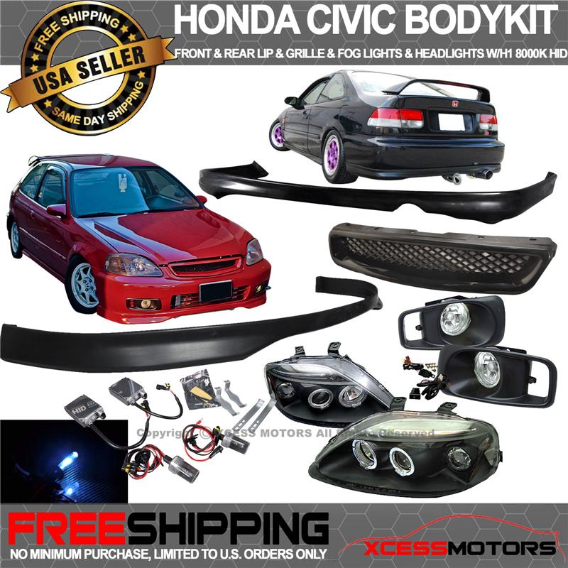 Fit Xenon Civic EK JDM Front Rear Bumper Lip Spoiler Fog Light HID 8000K Grill