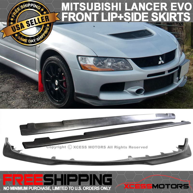 Details about Fit 06-07 Mitsubishi EVO 9 Ix PU Front Bumper Lip + Side  Skirts Extension