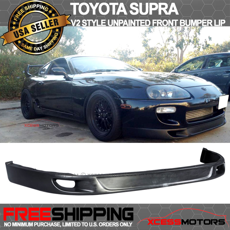 651cb4dcc1 Fitment:93-98 TOYOTA SUPRA; Material:POLY URETHANE; Style:V2 Style front lip;  Bumper ...