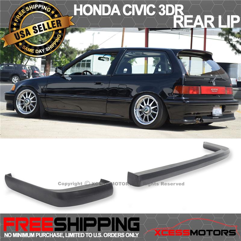 Fit 88-91 Civic 2D 3Dr JDM IKON Lip 2Pc Rear Bumper Lip