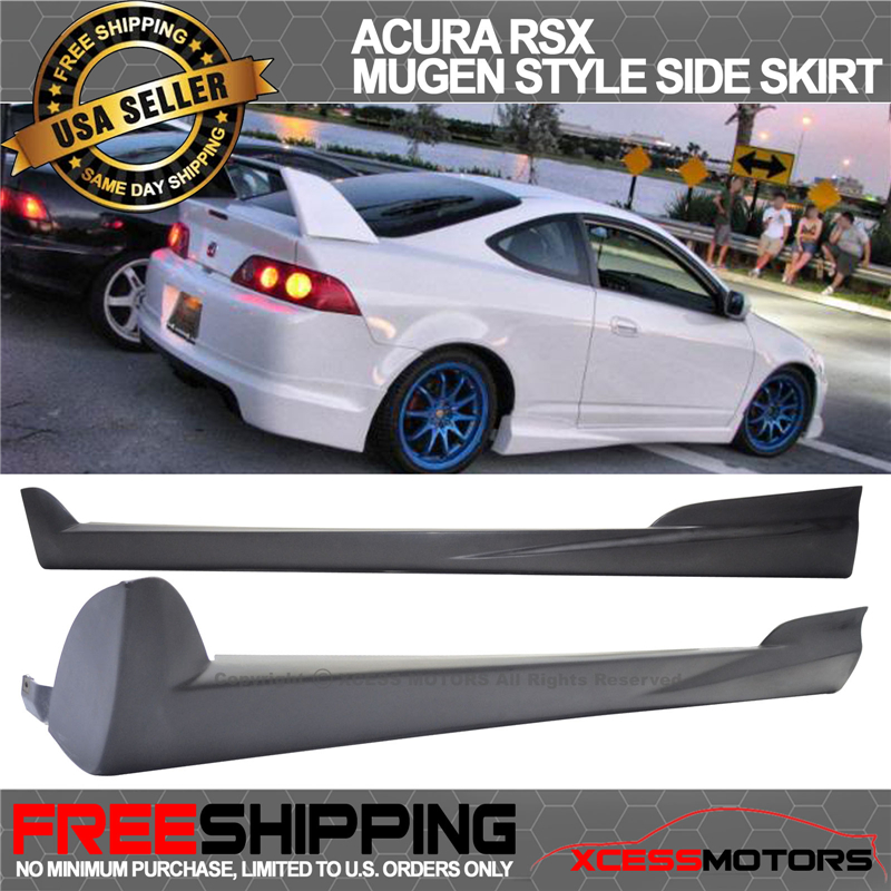 Fits 02-06 Acura RSX MUGEN Style Side Skirts Skirt Pairs Poly Urethane Black