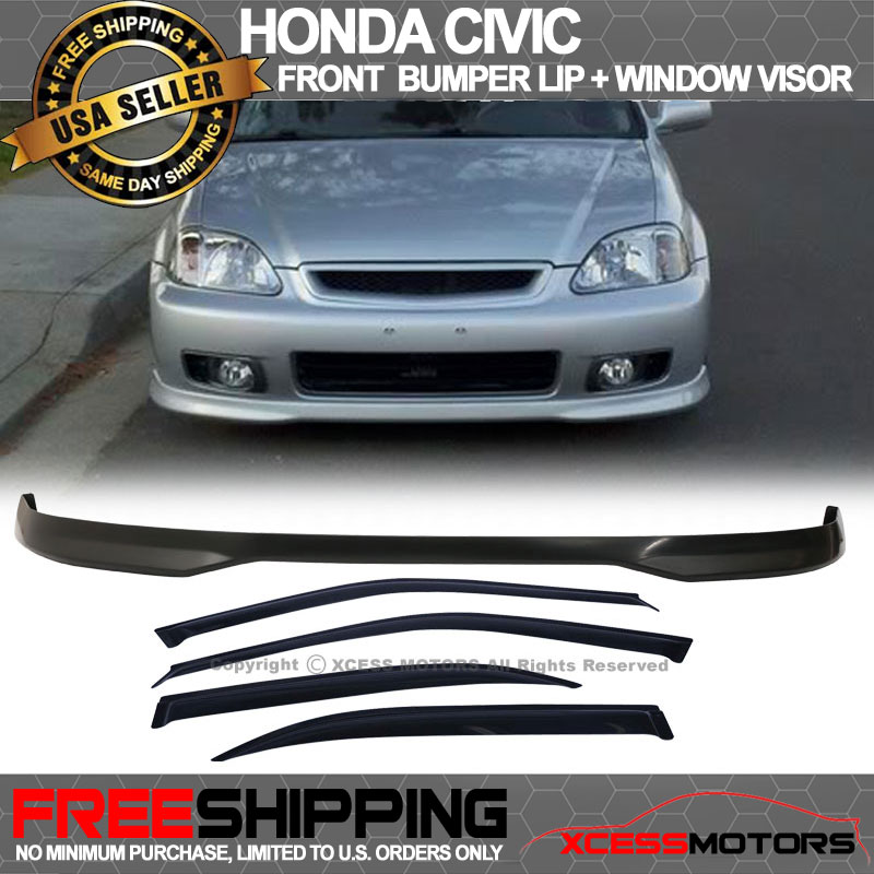 Sun Window Visor Fits 99-00 Honda Civic 4D EK PP Front Bumper Lip Spoiler