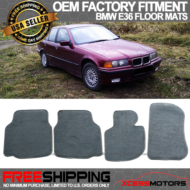 Factory Fitment 92-98 BMW E36 3-Series Front+Rear Black Carpet Floor Mats 4PC