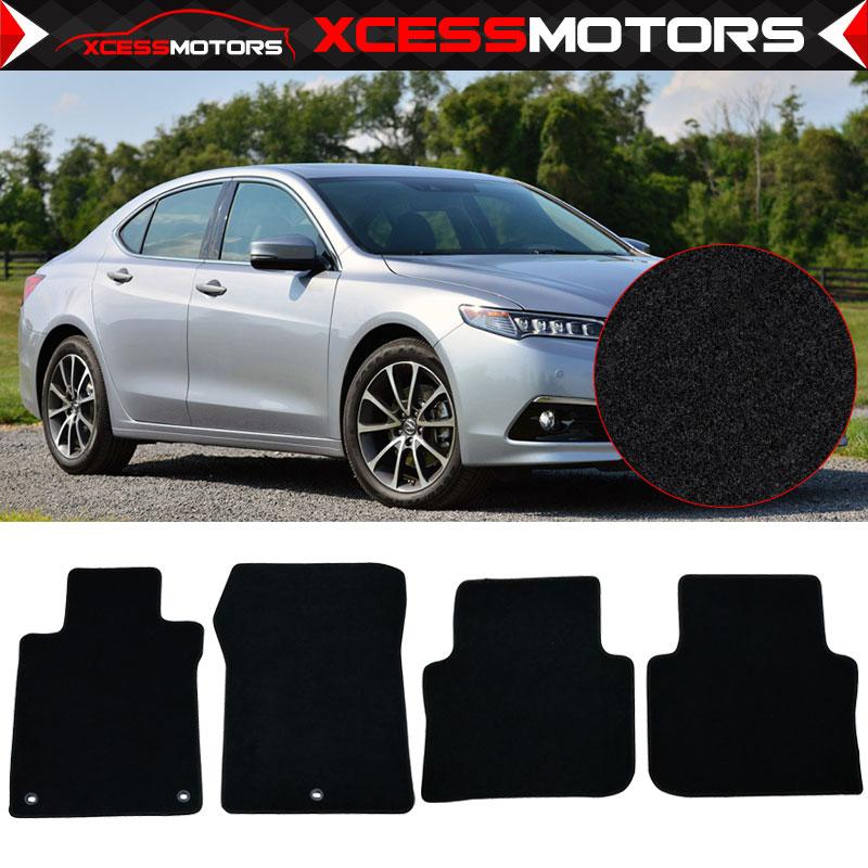 Fits 15-17 Acura TLX Black Nylon Front Rear Floor Mats