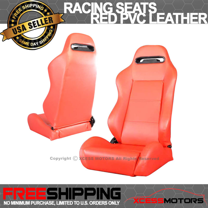 Fits Acura Red PVC Leather Racing Seats Seat Reclinable
