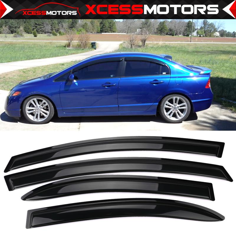 Fits 06-11 Honda Civic Sedan Mugen Style Polycarbonate Window Visors 4Pc Set