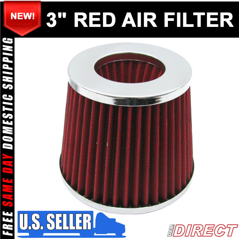 "Universal 4/"" Air Cold Short Intake Filter Jdm Vip Dry Cone Carbon Fiber Look"