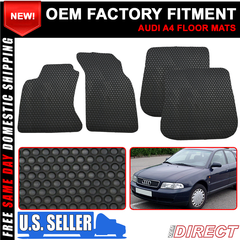 For 96-01 Audi A4 4Dr Floor Mats All Weather Carpet Front Rear Latex Black 4PC