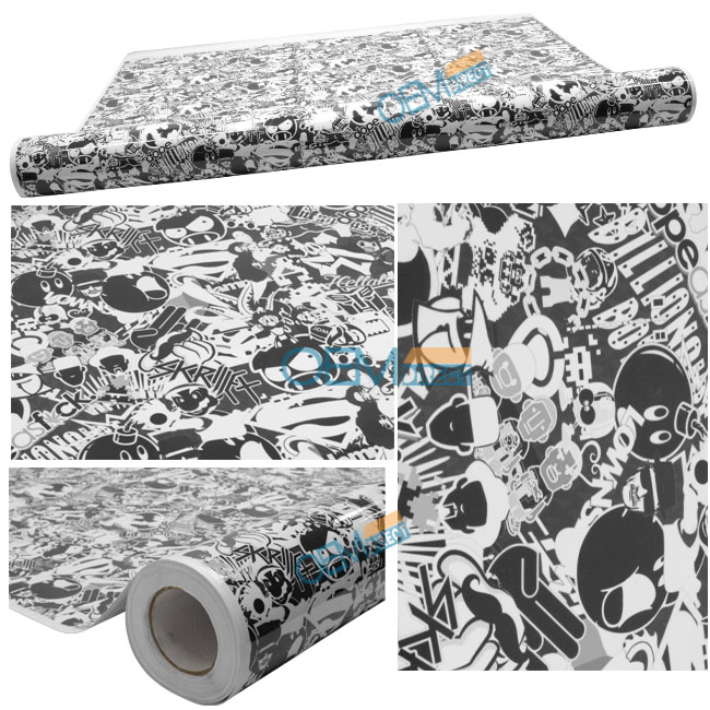 For 30X59 Inch JDM Cartoon Vinyl Wrap Sheet Decal Sticker Bomb Black White Gray