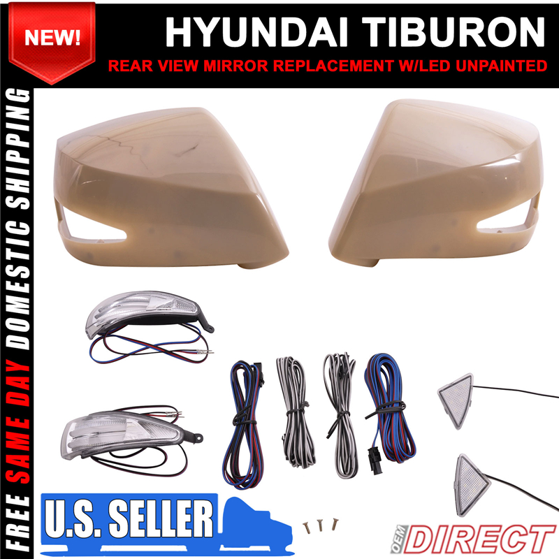 Fit 05 08 Tiburon Side View Outer Mirror Replacement With Ccfl Turn