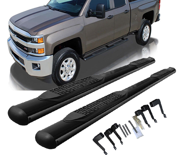 Black Powder Coated 4 inches Nerf Bars For Toyota Tundra Double Cab 07-18