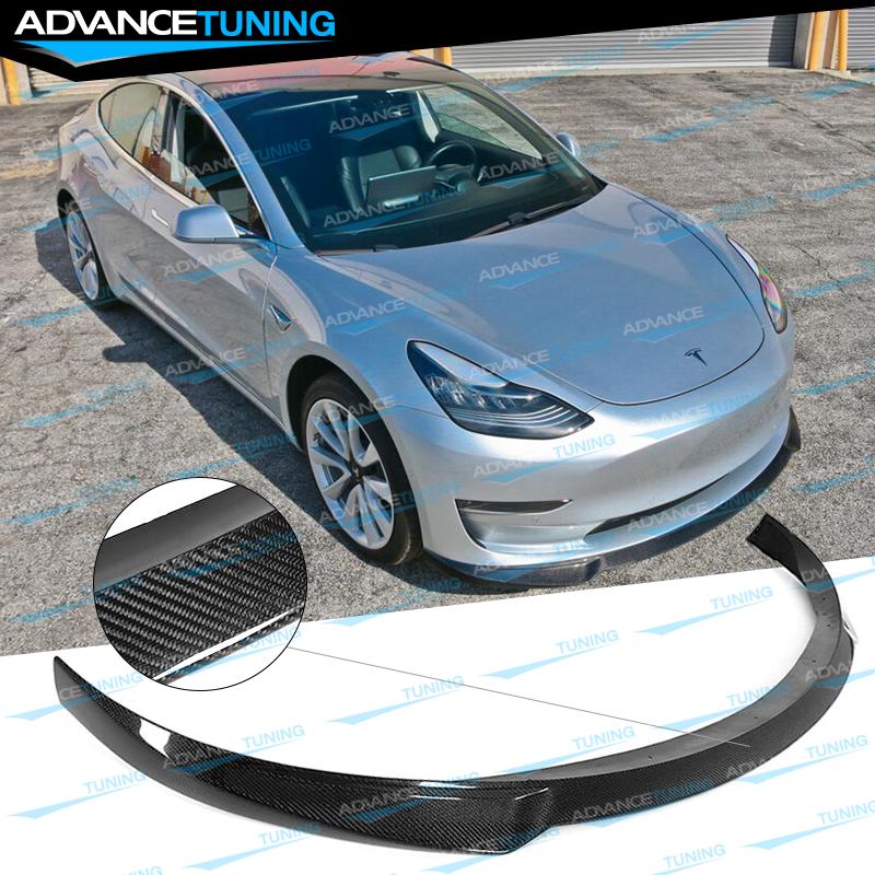 Fits 17-19 Tesla 3 IKON Style Front Bumper Lip - Carbon ...