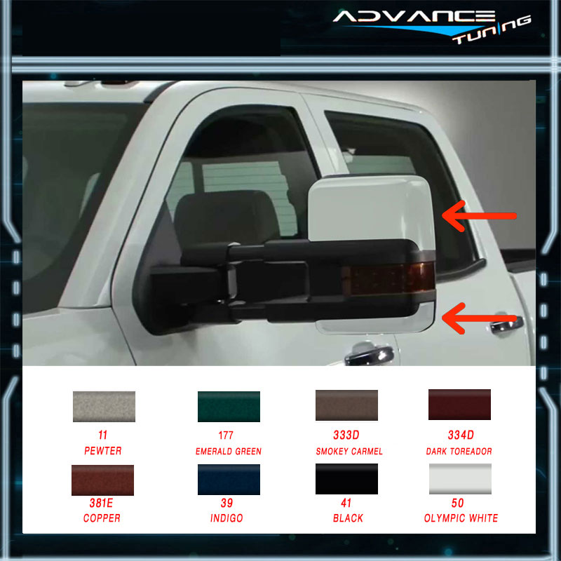 Painted For 88 98 Chevy C1500 Side Towing Mirrors Power