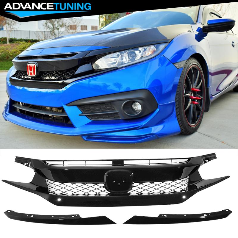 NEW Front Bumper Upper Cover Bonnet Grill Trim Lip for16-18 Honda Civic