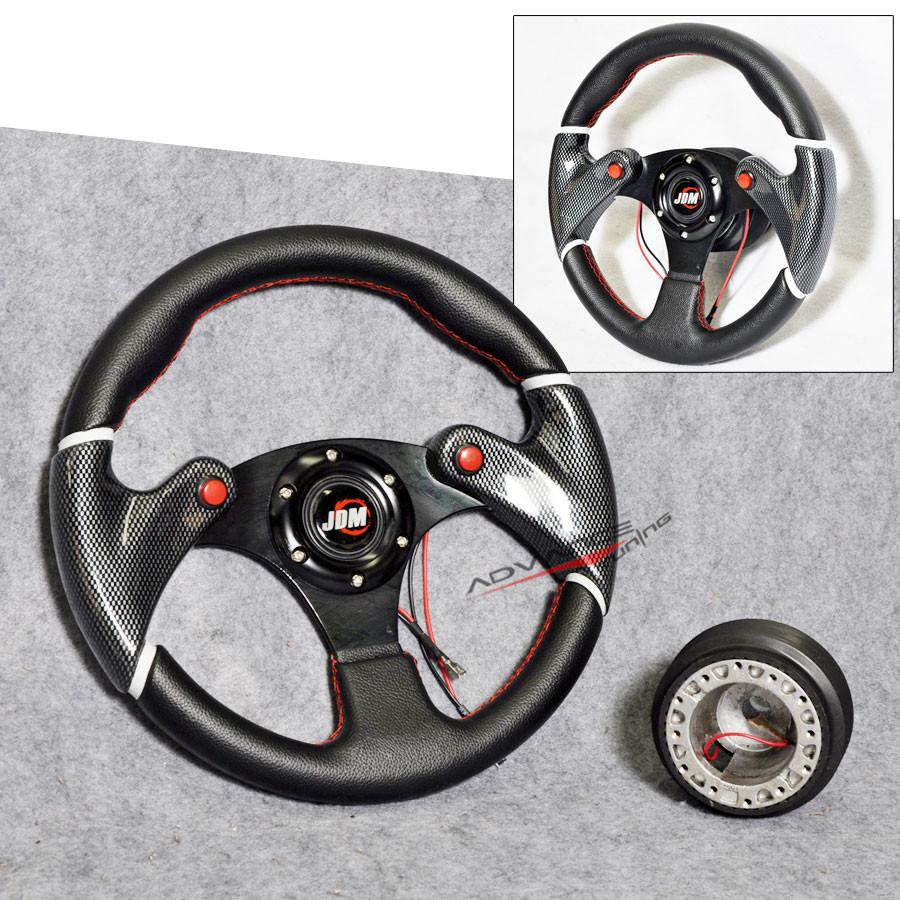 320mm Black w Red Racing Steering Wheel PVC Leather Hub Adapter w JDM Horn