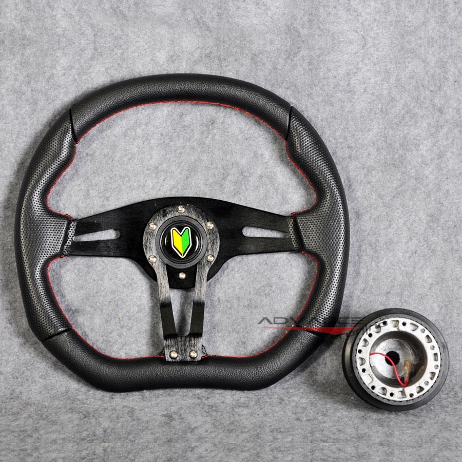 350mm Racing Steering Wheel Black PVC Spoke Red Stitch Hub Adapter Horn Honda