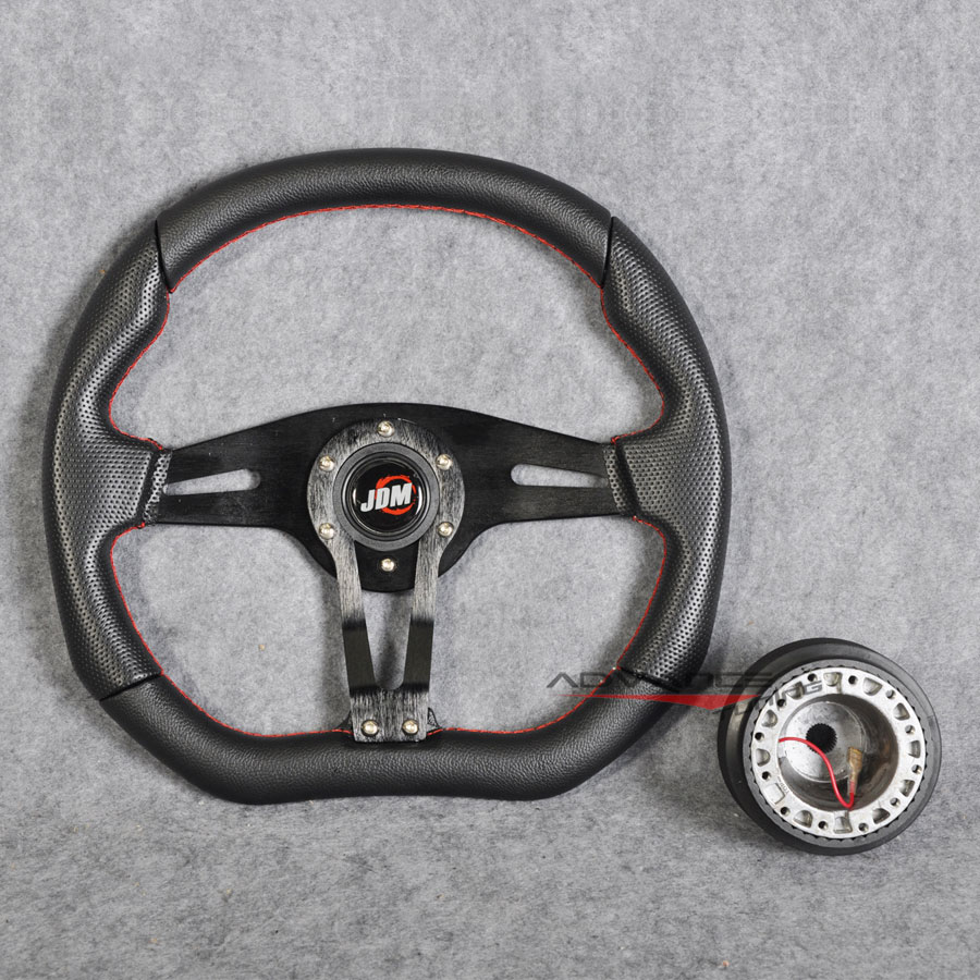 350mm Black 6-Bolt Spoke Red Stitched PVC Leather Racing Steering Wheel