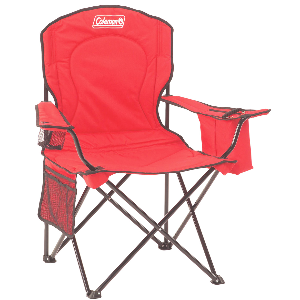 ae300e12146e Coleman 2000032009 Red Portable Comfort Cup Holder Quad Chair w/ Cooler