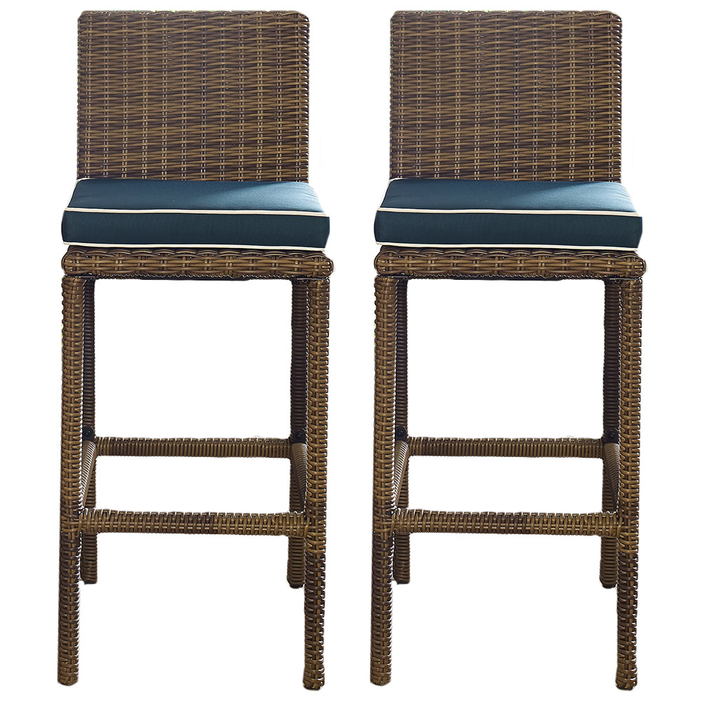 Cool Details About Crosley Co7134Wb Nv Bradenton Outdoor Wicker Bar Height Stools Navy 2Pc Machost Co Dining Chair Design Ideas Machostcouk