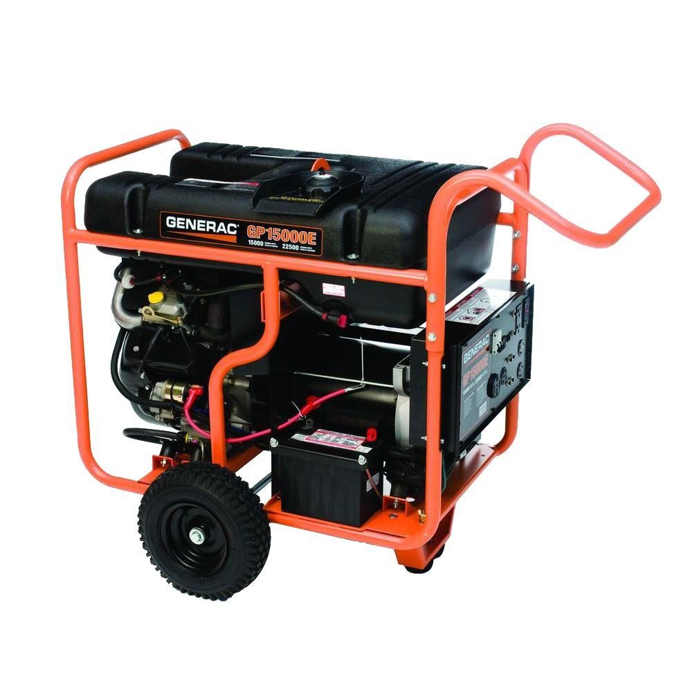 Generac 5734 GP15000E 15,000 Watt Electric Start Gas Powered Portable  Generator